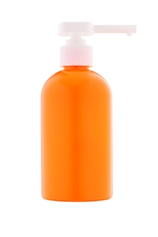 Distributeur en plastique orange pour savon ou mousses avec protection uv isolé sur fond blanc.