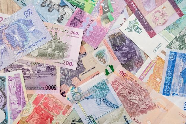 Divers argent des pays africains.