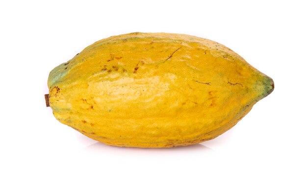 Divers fruits de cacao frais isolés sur fond blanc