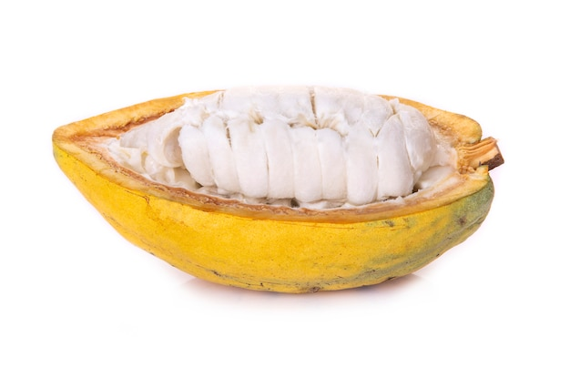 Divers fruits de cacao frais avec moitié en tranches et isolé sur fond blanc