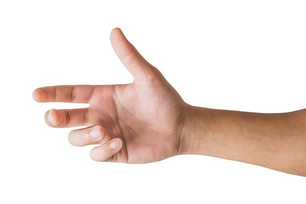 Divers gestes et signe de la main de l'homme isolé sur fond blanc avec un tracé de détourage.