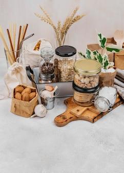 Divers ingrédients bruts alimentaires vue élevée