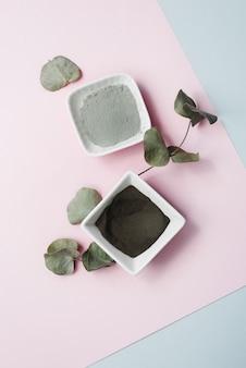 Divers ingrédients pour les soins de la peau à domicile. argile grise, noire et bleue, feuilles d'eucalyptus sur fond pastel. hydrater et nettoyer la peau avec du baume et de la crème. belle teinte dans une teinte