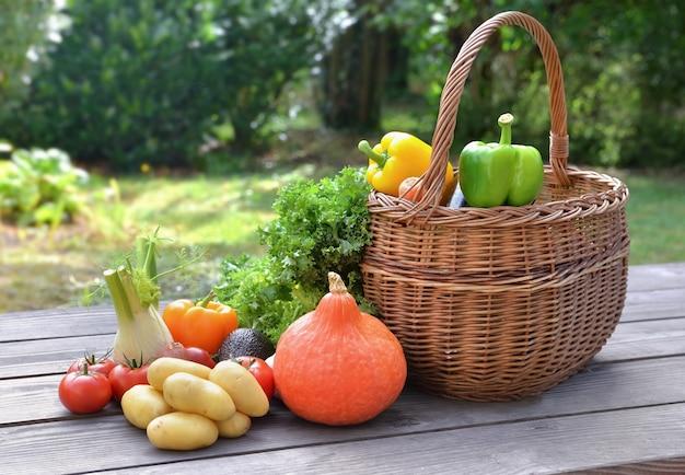 Divers et légumes colorés mis sur une table à côté d'un panier dans le jardin