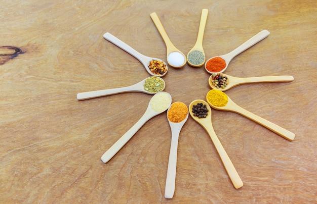 Divers types d'épices dans des bols en bois