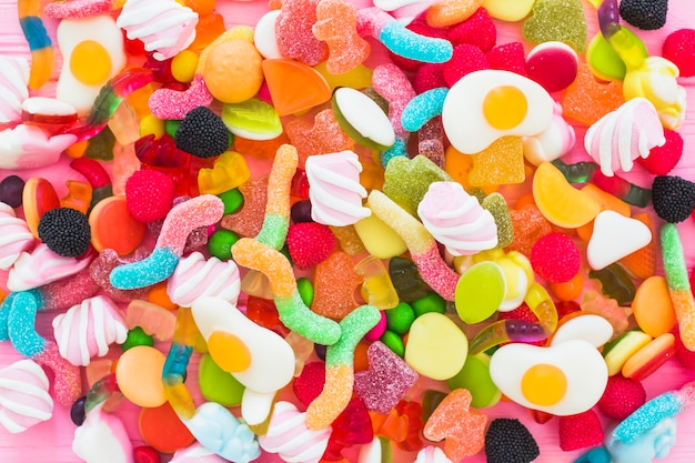 Diverses bonbons colorés