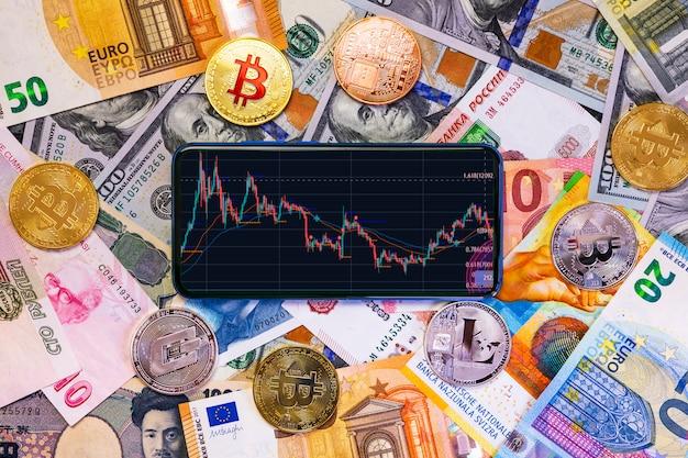 Diverses crypto-monnaies et un smartphone avec un graphique.