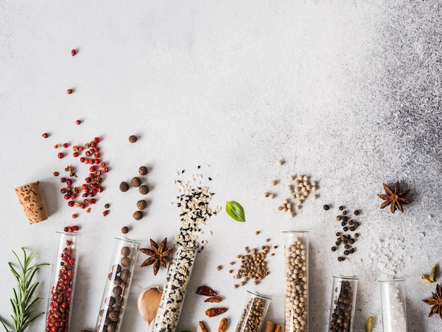 Diverses épices dans des éprouvettes en verre et des herbes fraîches sur fond gris. ensemble de diverses épices et herbes à plat poser. espace de copie