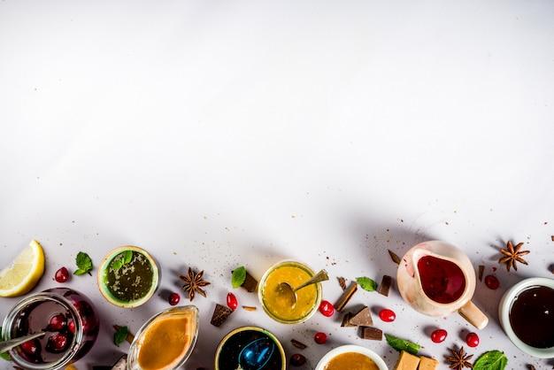 Diverses sauces sucrées