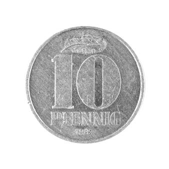 Dix 10 penning coin argent de l'allemagne de l'est isolé sur fond blanc photo