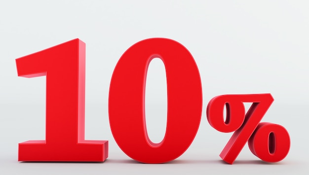 Dix (10) pour cent d'or isolé sur fond blanc., 10 pour cent de réduction, rendu 3d