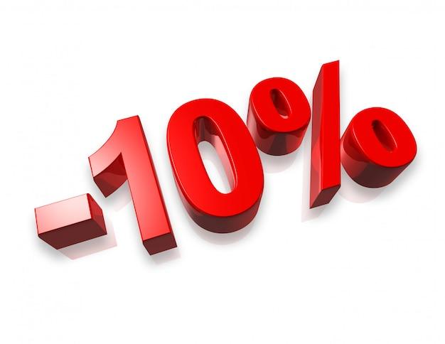 Dix pour cent du nombre 3d isolé sur blanc