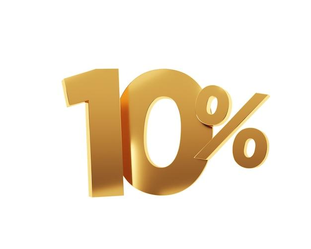 Dix pour cent d'or sur fond blanc. rendu 3d.