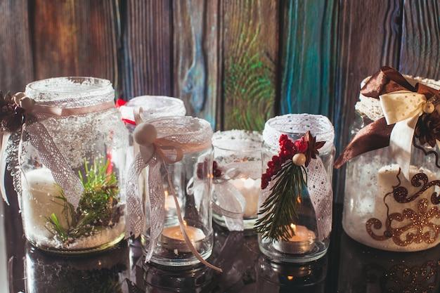 Diy bougeoirs en verre déco noël avec dentelle et rubans