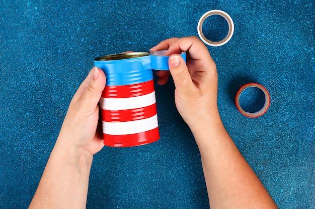 Diy vase 4 juillet de boîte de conserve