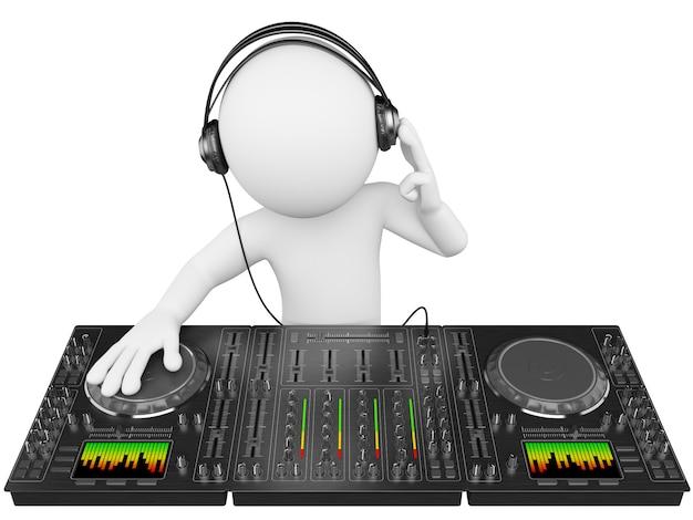 Dj blanc 3d avec table de mixage