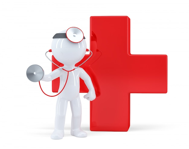 Docteur 3d avec stéthoscope. isolé. contient un tracé de détourage