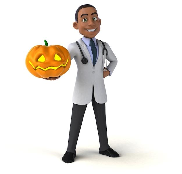 Docteur amusant tenant une citrouille effrayante