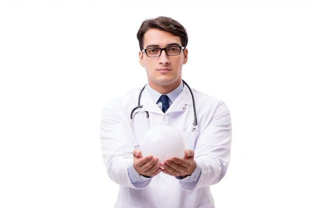 Docteur avec boule de cristal isolée on white