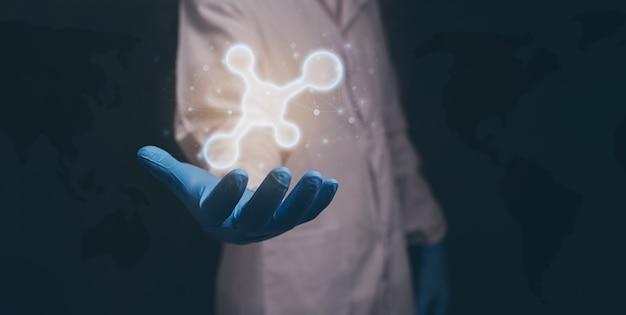 Docteur montrant l'icône moléculaire. illustration