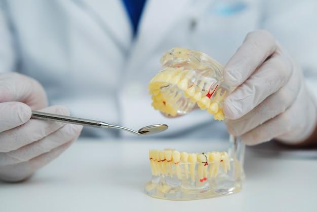 Docteur orthodontiste montre l'instrument sur les caries dans les dents