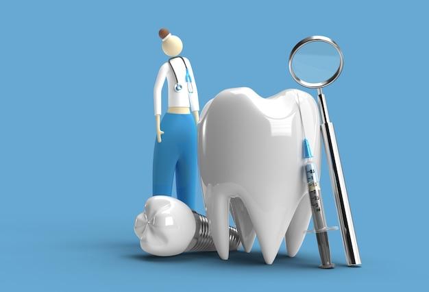 Docteur avec l'outil de stylo de concept de chirurgie d'implants dentaires créé un tracé de détourage inclus dans jpeg facile à composer.