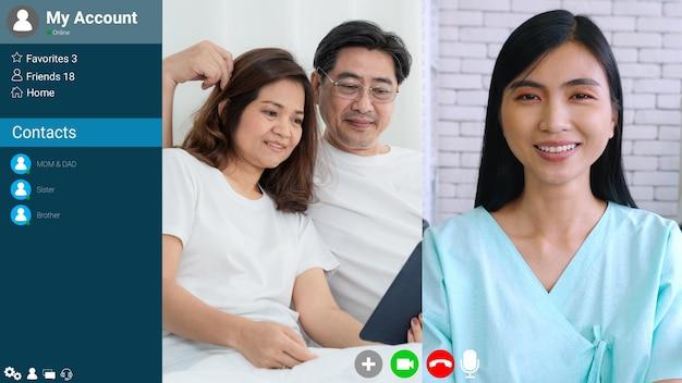 Docteur et patient parlant sur appel vidéo
