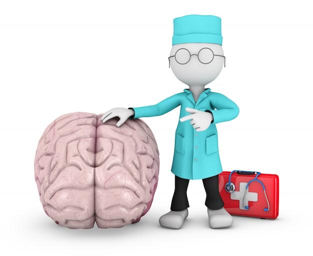 Docteur pointe vers le cerveau humain