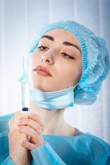 Docteur portant un masque facial. coronavirus concept, virus respiratoire covid-19.