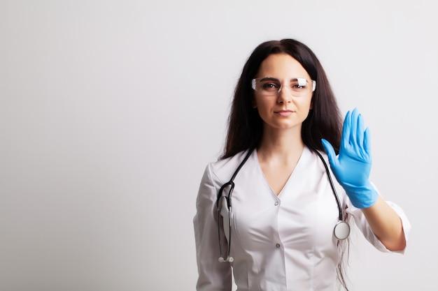 Docteur, projection, main, arrêt, geste, santé, sécurité, concept