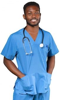 Docteur, à, stéthoscope, isolé, blanc