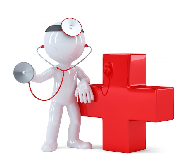 Docteur avec stéthoscope. isolé. contient un tracé de détourage
