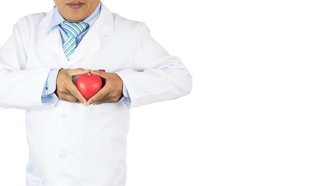 Docteur tenant coeur rouge isolé, prévenir les maladies cardiaques, espace copie