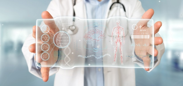 Docteur, tenue, hud, interface modèle, futuriste