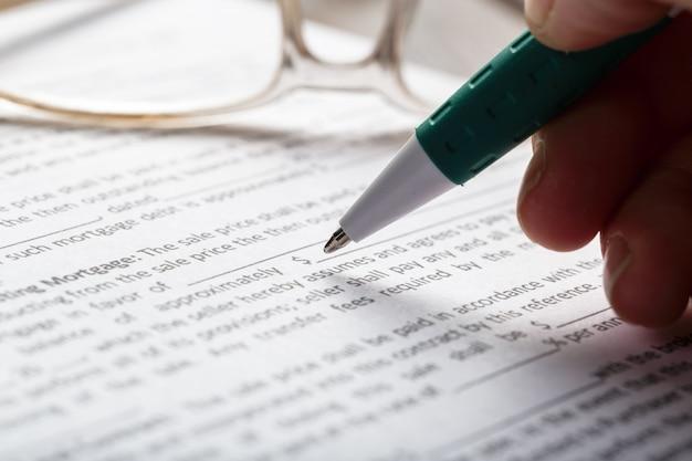 Document de contrat de location ou de location