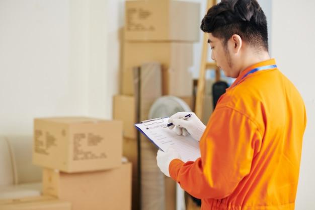 Document de remplissage de déménageur