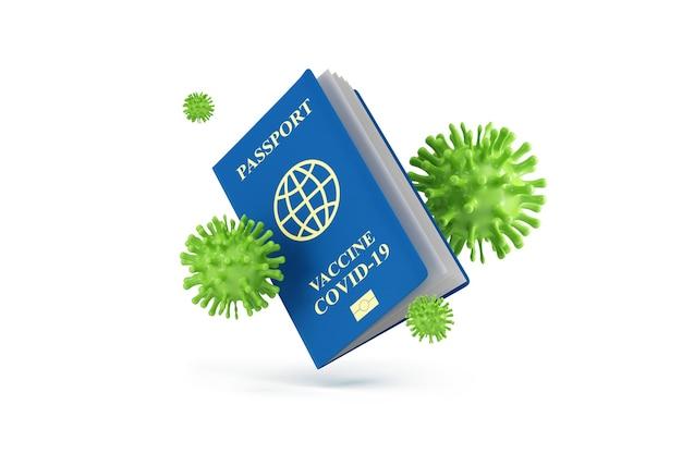 Document de vaccination contre le coronavirus passeport covid19 avec cellules virales sur fond blanc