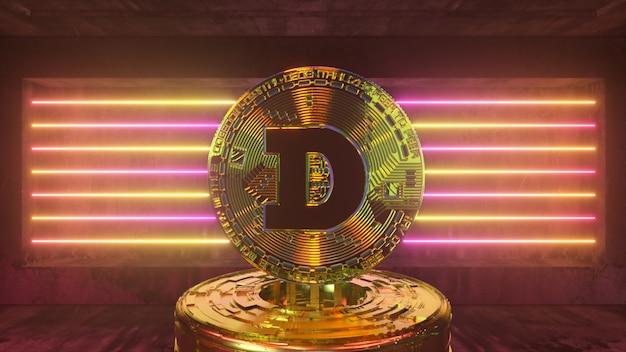 Dogecoin dans une future salle futuriste avec éclairage au néon. concept de crypto-monnaie. illustration 3d