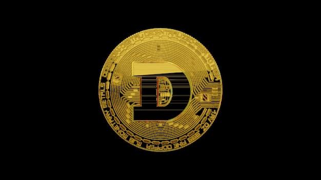 Dogecoin sur un fond noir isolé. concept de crypto-monnaie. illustration 3d