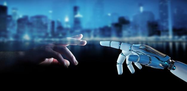 Doigt cyborg blanc sur le point de toucher le rendu humain du doigt humain