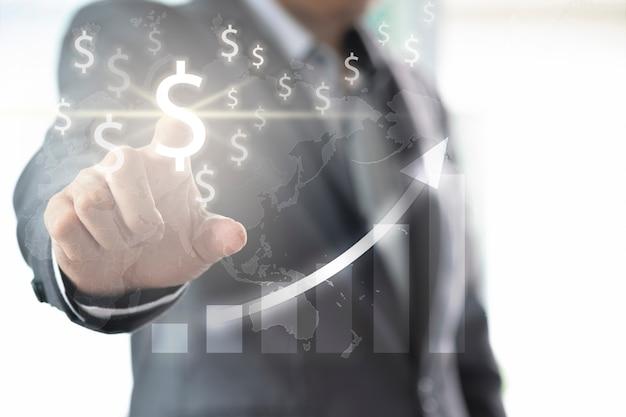 Doigt d'homme d'affaires au signe dollar américain pour l'investissement et l'analyse financière avec graphique infographique.
