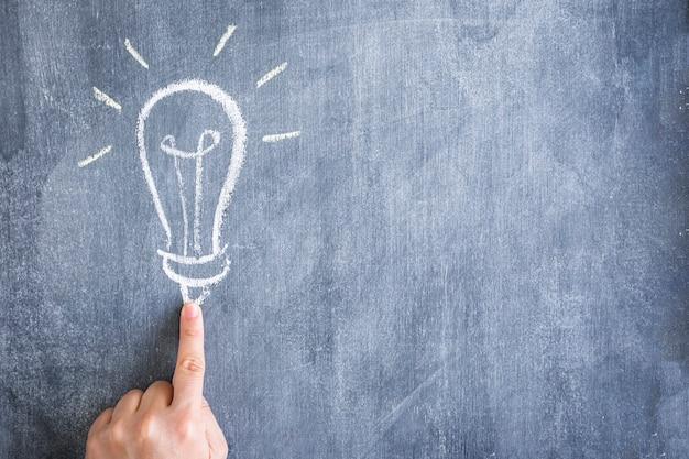 Doigt pointant l'ampoule dessiné à la craie sur le tableau noir