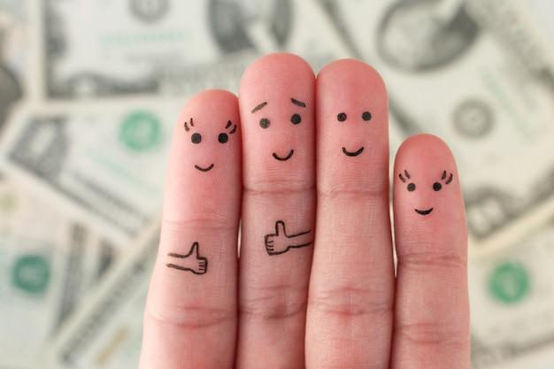 Doigts art de la famille beaucoup d'argent.