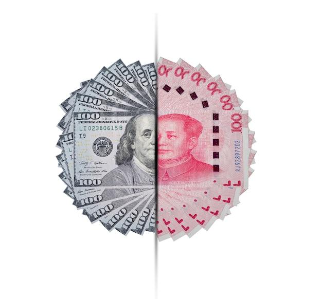 Dollar américain et billet de banque en yuan