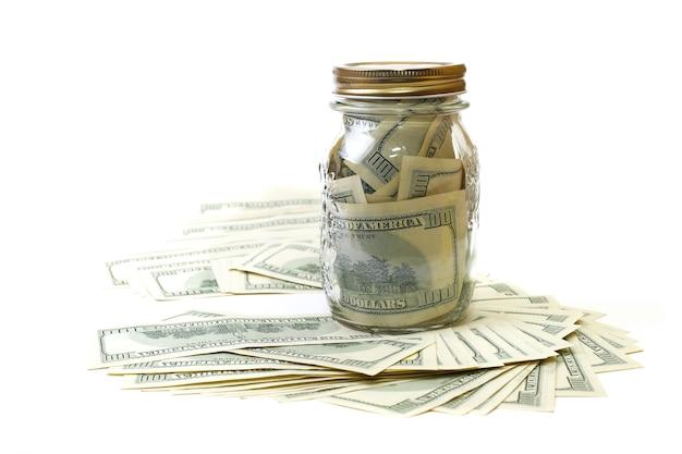 Dollar à la banque sur fond blanc