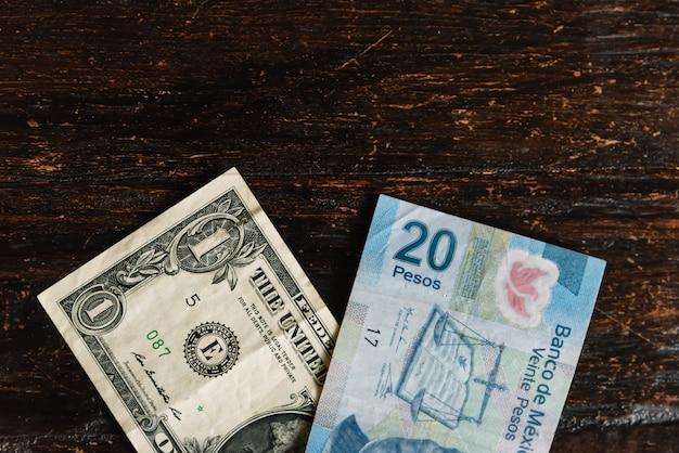 Dollar vs pesos mexicains échange de devises
