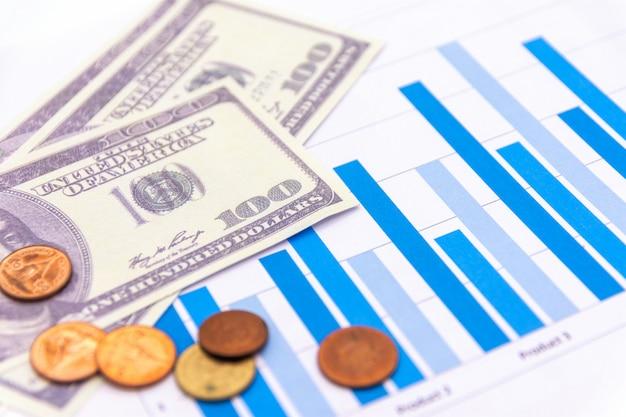 Dollars américains avec graphique sur blanc