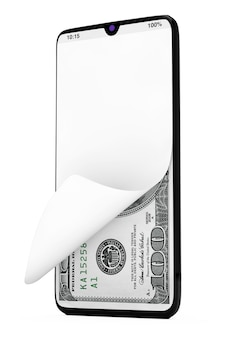Dollars bills money sous l'écran en verre avant du téléphone mobile moderne sur un fond blanc. rendu 3d