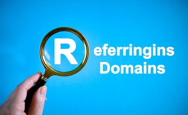 Domaines de référence - texte avec une loupe sur fond bleu