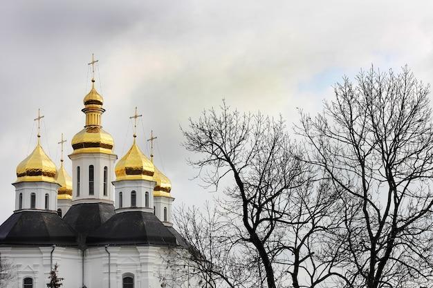 Dômes dorés sur l'église dans le parc d'hiver